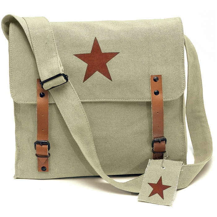 Khaki - Vintage Medic Shoulder Bag with Red China Star Emblem