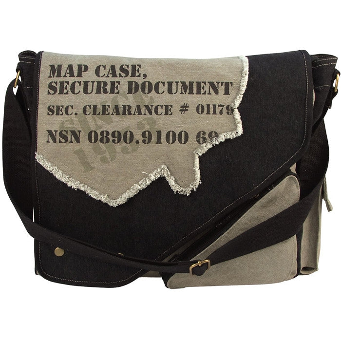 Black   Grey - Vintage 2-Tone Imprinted Map Case Messenger Bag