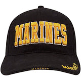 Black - MARINES Deluxe Adjustable Cap with Gold Lettering