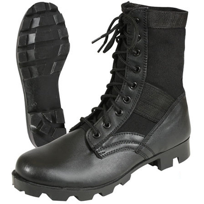 Black - Panama Sole GI Type Steel Toe Jungle Boots - Leather 8 in.