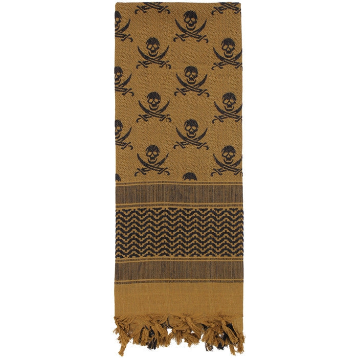 Coyote Brown   Black - Skulls Pattern Shemagh Tactical Desert Scarf