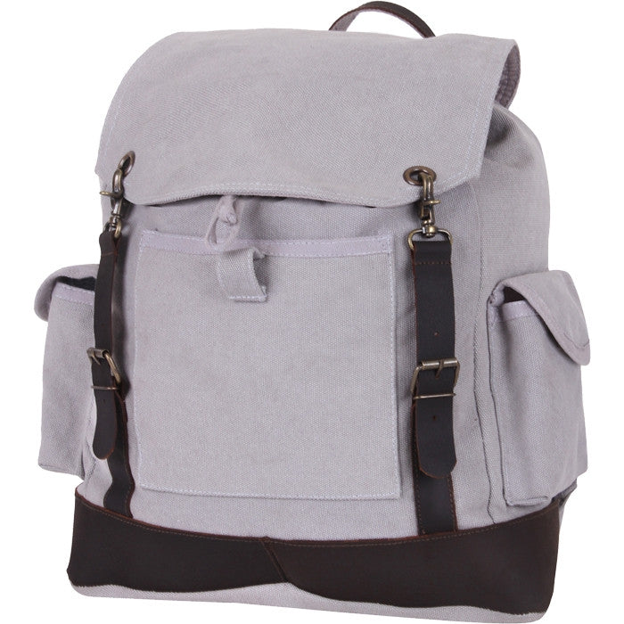 Grey - Vintage Military Leather Trim Expedition Rucksack