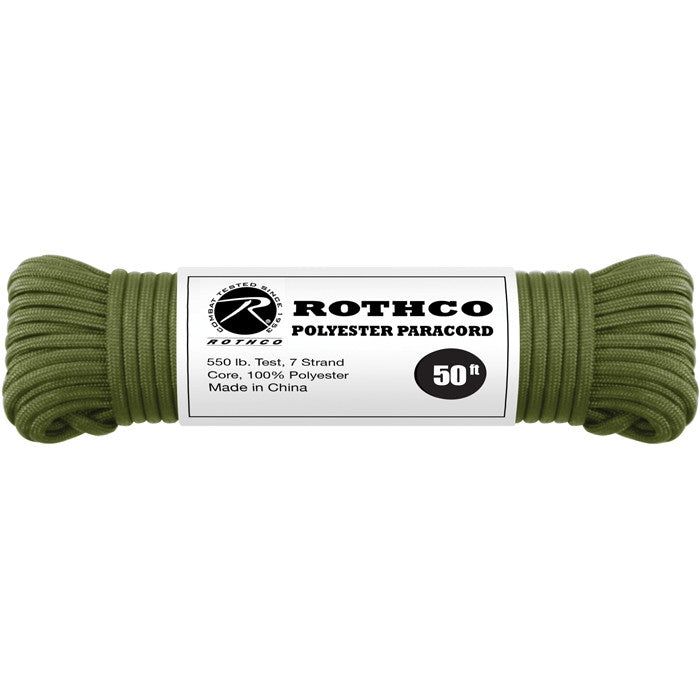 Olive Drab - Polyester 550 LB Tested 50 Feet Paracord Rope