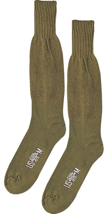 Olive Drab - Military GI Style Cushion Sole Socks Pair - USA Made