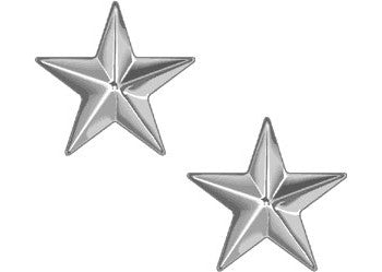 Polished - Military Brigadier General Stars Pin-On Insignia Pair BG