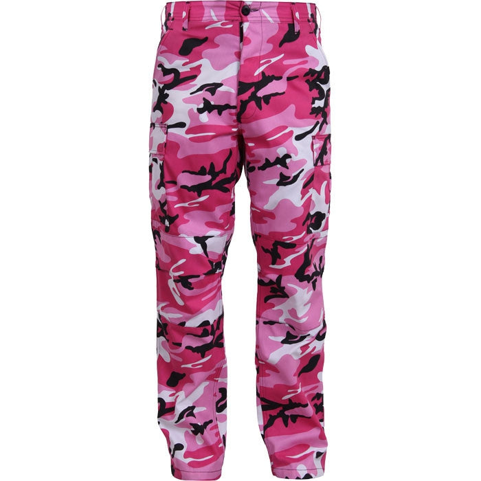 Pink Camouflage - Military BDU Pants - Cotton Polyester Twill