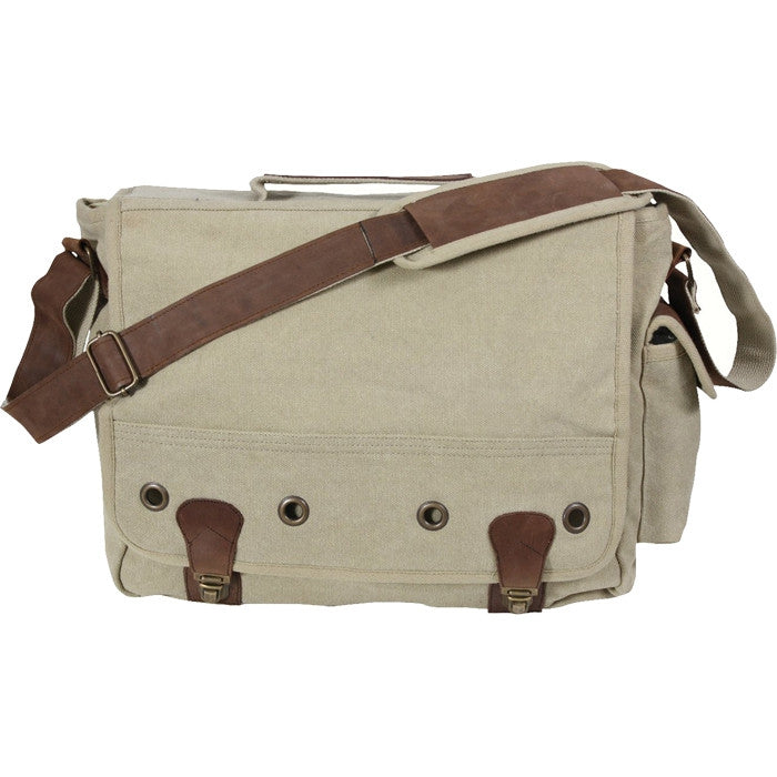 Khaki - Trailblazer Laptop Bag with Leather Accents