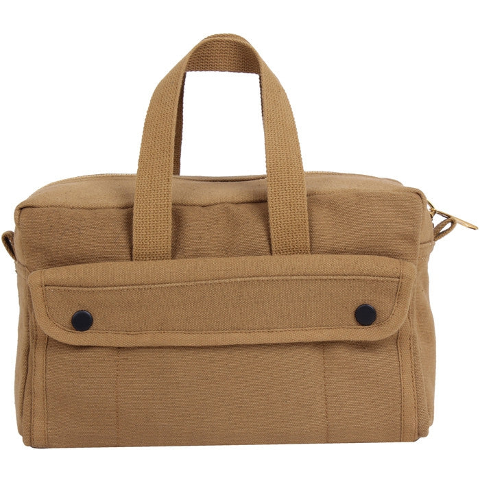 Coyote Brown - Military GI Style Mechanics Tool Bag with Brass Zipper - Cotton Canvas