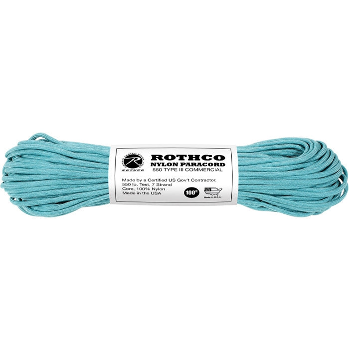 Turquoise - Military Grade 550 LB Tested Type III Paracord Rope 100' - Nylon USA Made