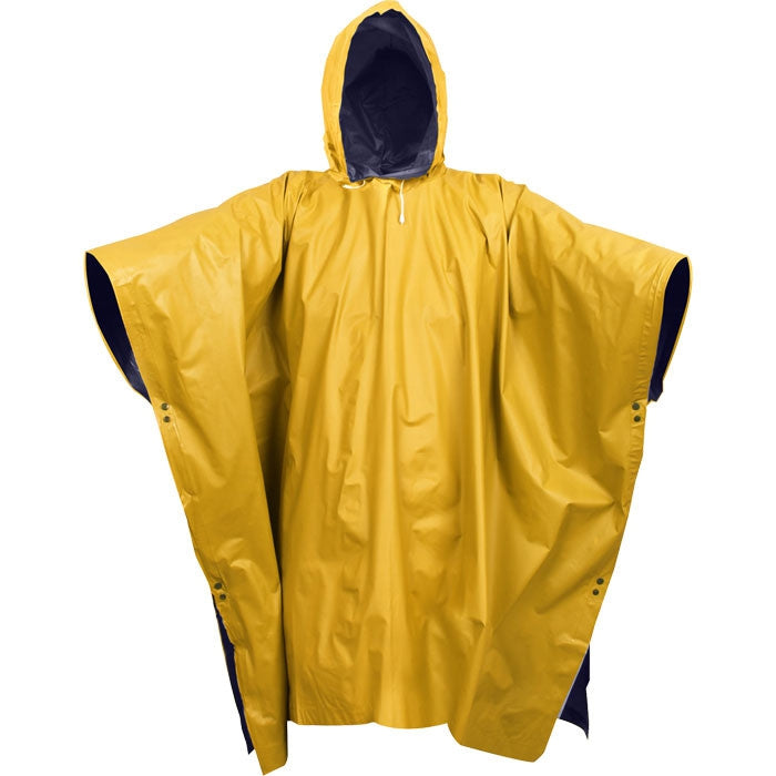 Navy Blue To Yellow - Reversible Wet Weather Rain Poncho - PVC