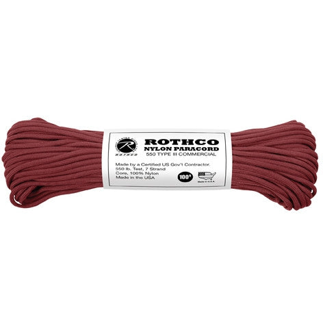 Burgundy - Military Grade 550 LB Tested Type III Paracord Rope 100' - Nylon USA Made