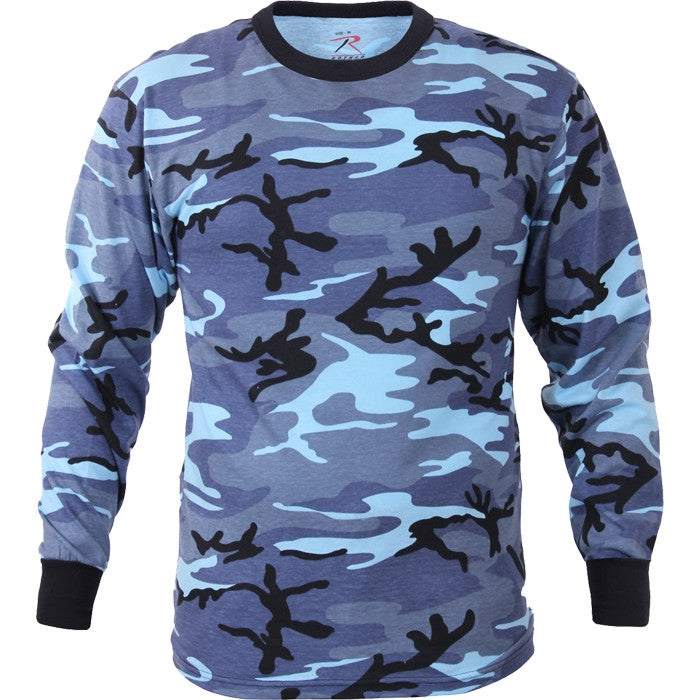 Sky Blue Camouflage - Military Long Sleeve T-Shirt
