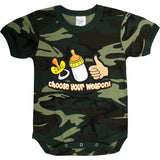 Woodland Camoouflage - CHOOSE YOUR WEAPON Military Onesie