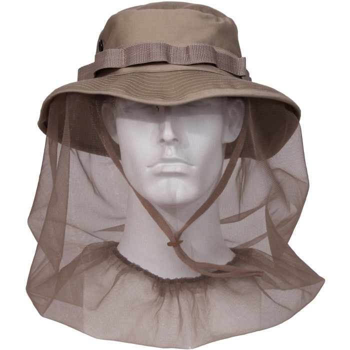Khaki - Boonie Hat with Mosquito Netting