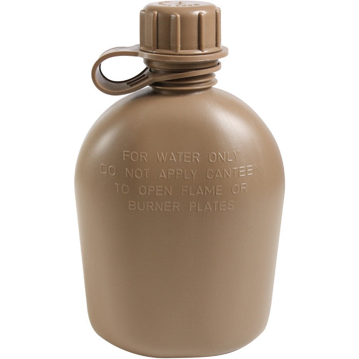 Coyote Brown - Genuine GI 3 Piece 1 Quart Canteen - Plastic USA Made