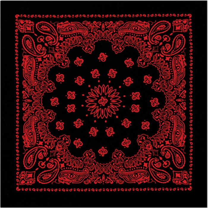 Black - Trainmen Bandana with Red Print 22 in. x 22 in.