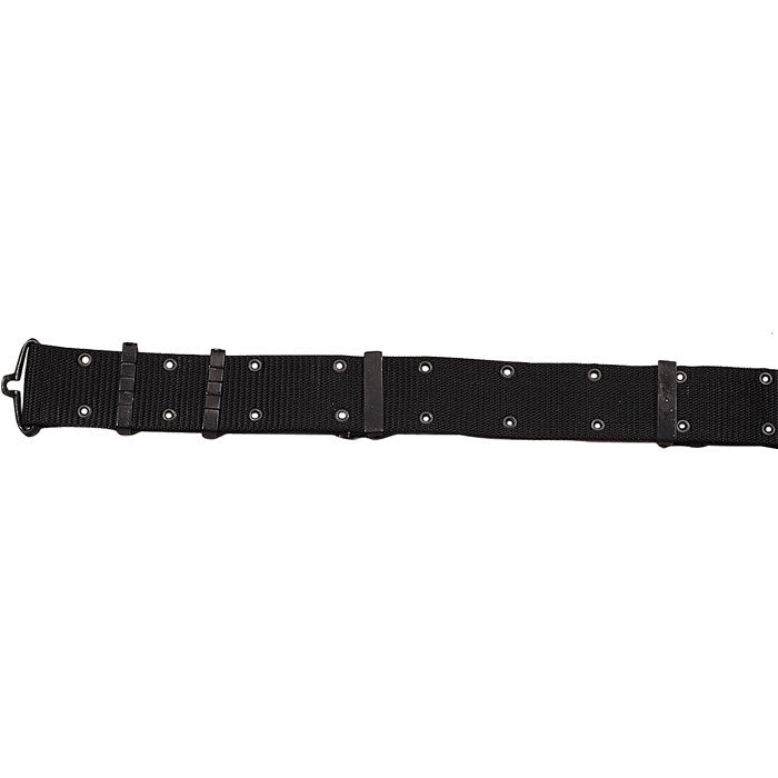 Black - Army Style Pistol Belt with Metal Buckle - Nylon