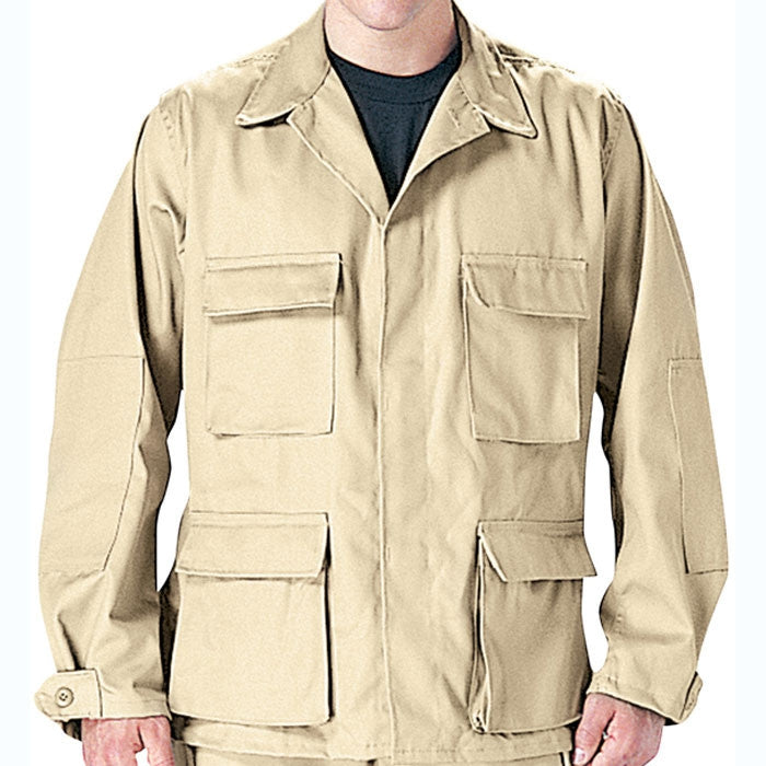 Khaki - Military BDU Shirt - Polyester Cotton Twill