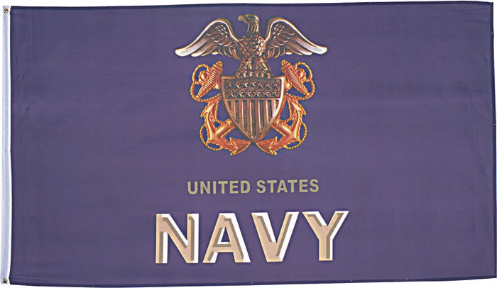 UNITED STATES NAVY 3-D Flag with Emblem 3' x 5'