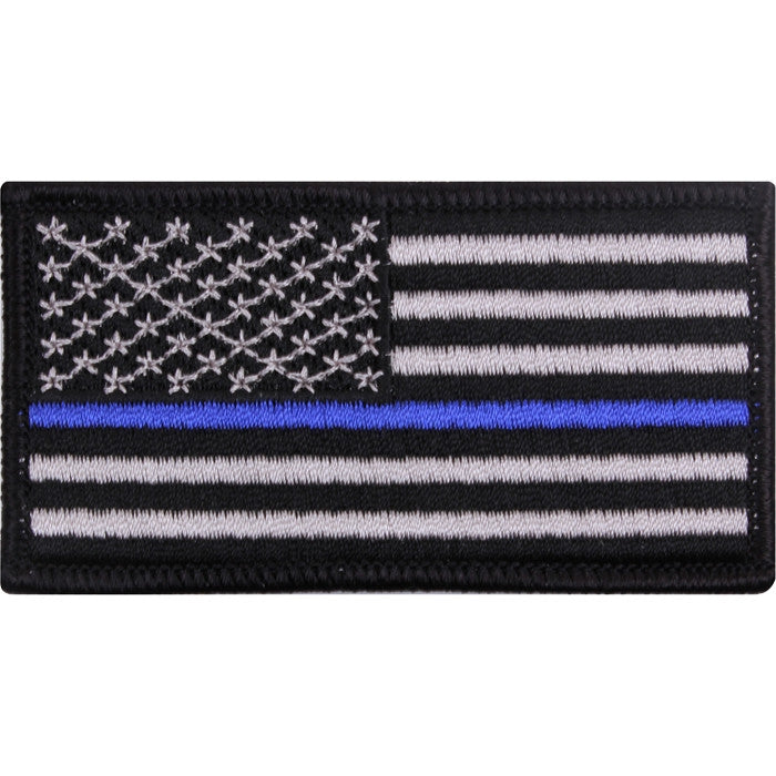 US Thin Blue Line Flag American Flag Iron-On Patch 1 7/8