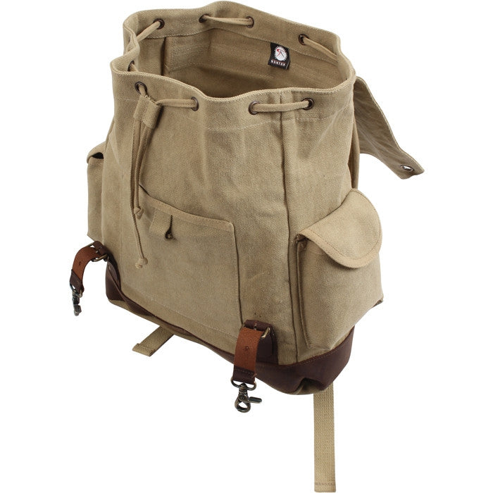 Khaki   Brown - Vintage Military Leather Trim Expedition Rucksack