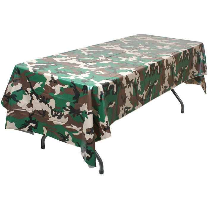 Woodland Camouflage - Plastic Table Cloth 108 in. x 54 in.