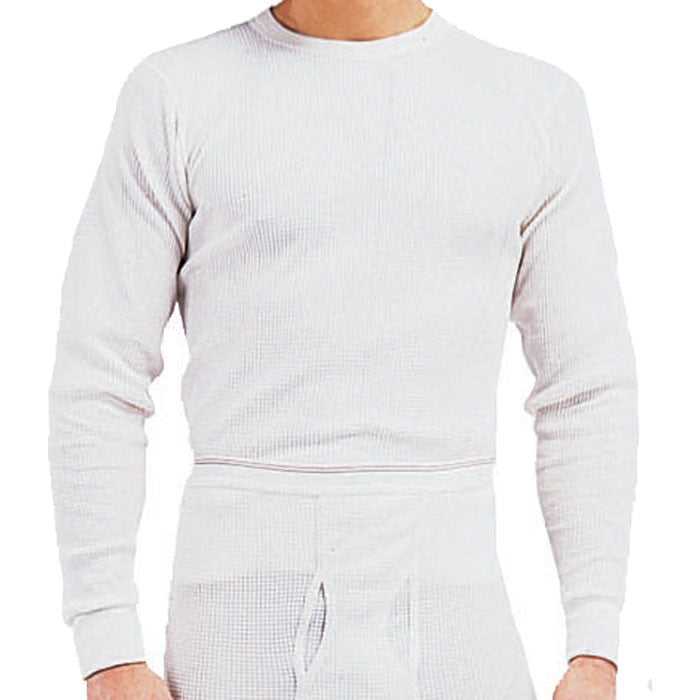 5d23f15ed786f Natural White - Cold Weather Thermal Crew Neck Shirt - Cotton Polyester