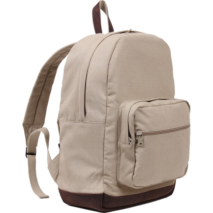 Khaki - Vintage Canvas Teardrop Backpack with Leather Accents