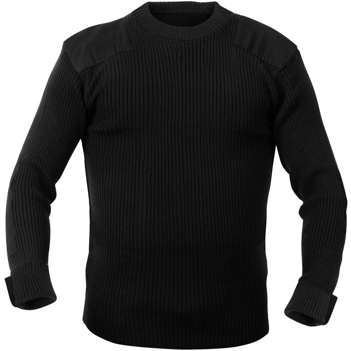 Black - Military Style Army Commando Crew Neck Sweater - Acrylic