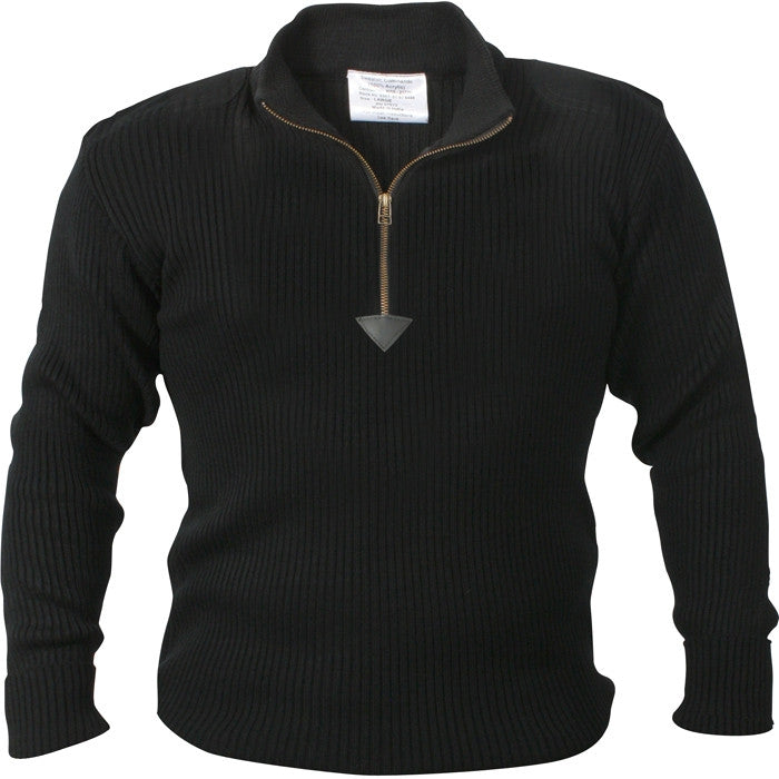 Black - Military Style Commando Sweater with Zipper - Acrylic