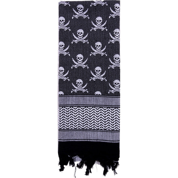 White   Black - Skulls Pattern Shemagh Tactical Desert Scarf