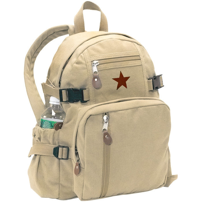 Khaki - Vintage Military Backpack with Red China Star Emblem