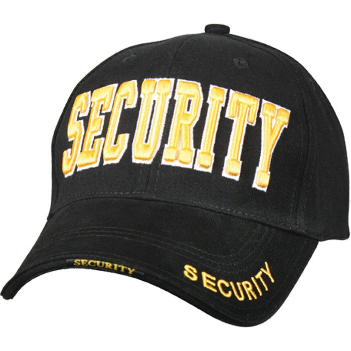 Black - Public Safety SECURITY Deluxe Adjustable Cap with Gold