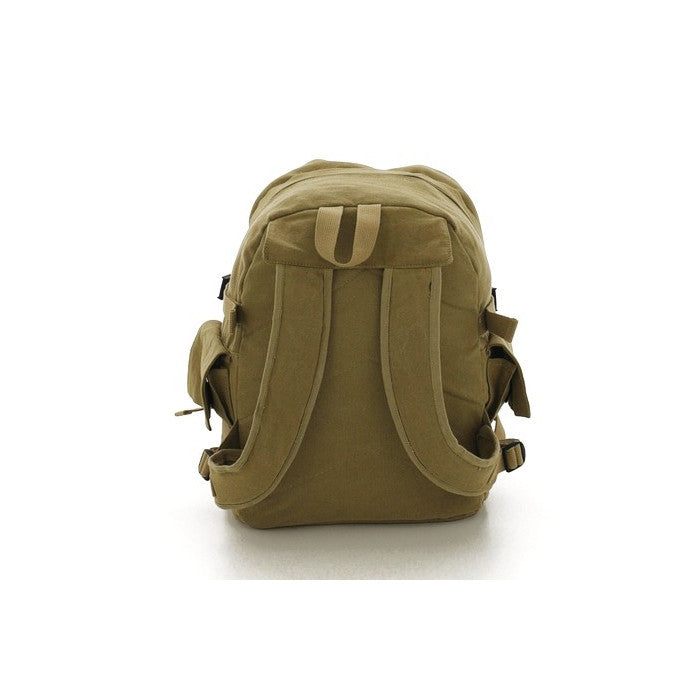 Khaki - Military Vintage Deluxe Backpack with Red China Star Emblem
