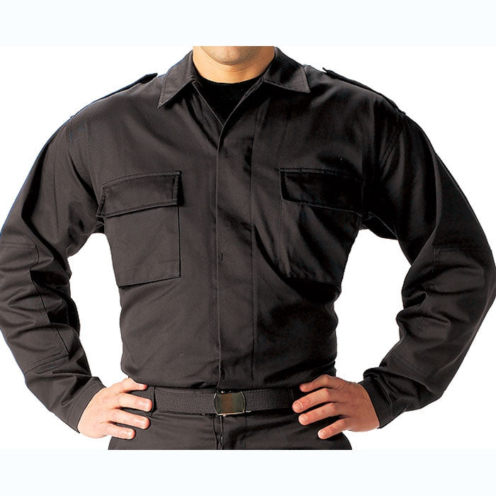 Black - Long Sleeve Tactical BDU Shirt - Polyester Cotton Twill