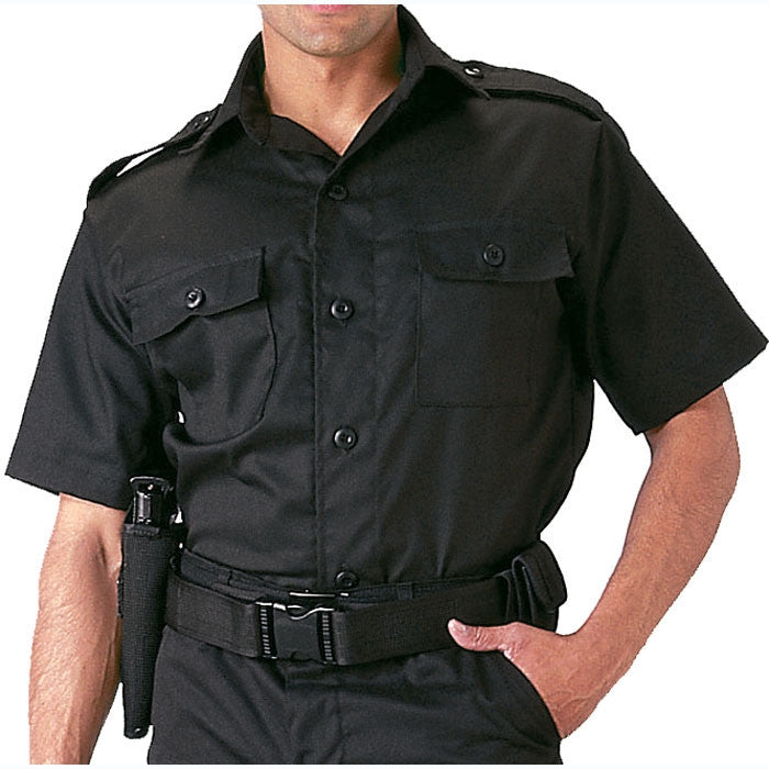 Black - Short Sleeve Tactical Shirt - Polyester Cotton Twill