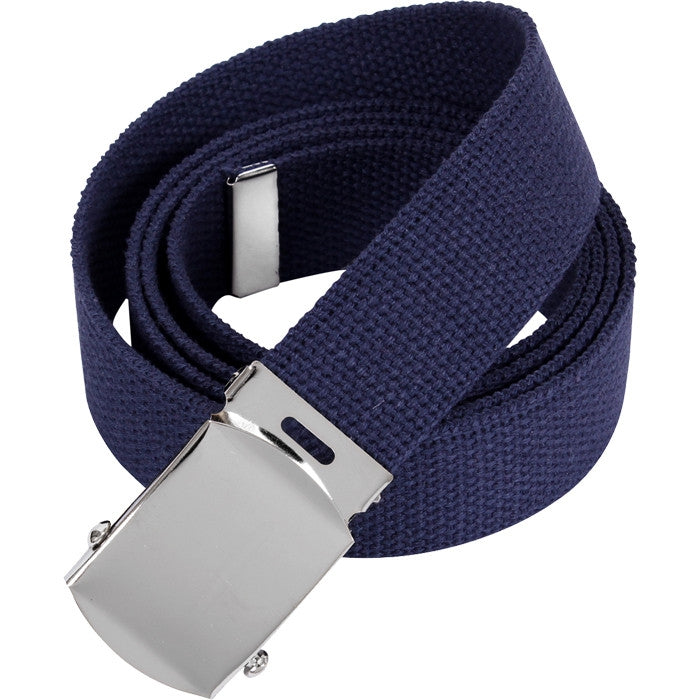 Navy Blue - Military Web Belt with Chrome Buckle