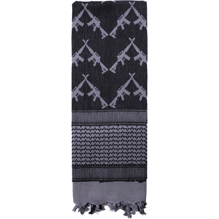 Grey - Crossed Rifles Shemagh Tactical Desert Scarf