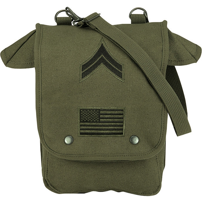 Olive Drab - Military Map Case Shoulder Bag with Military Patches