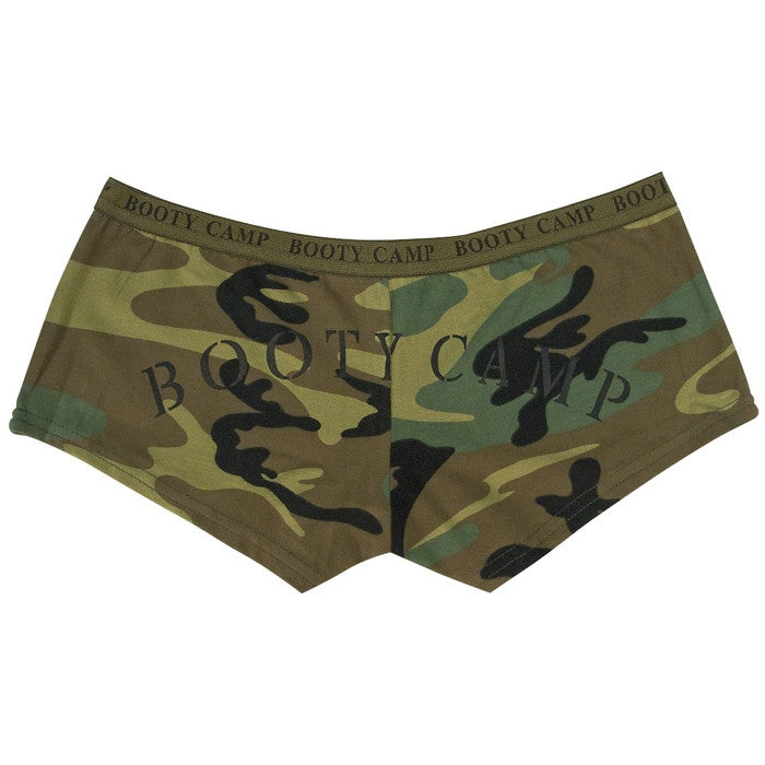 Woodland Camouflage - Womens BOOTY CAMP Booty Shorts