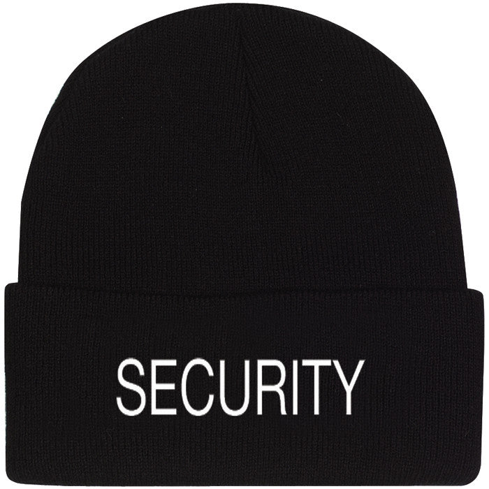 Black - Public Safety SECURITY Watch Cap with White Lettering