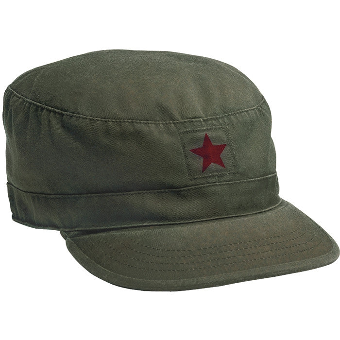 Olive Drab - Military Vintage Fatigue Cap with Red Star Emblem