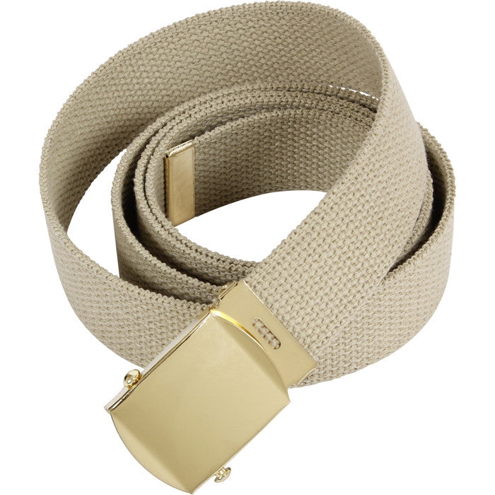 Khaki - Military Web Belt with Gold Brass Buckle