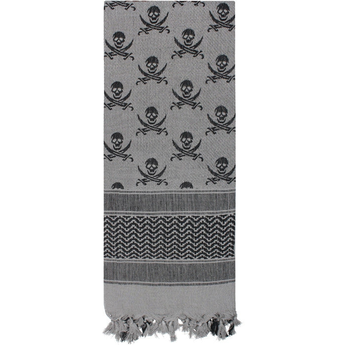 Grey   Black - Skulls Pattern Shemagh Tactical Desert Scarf