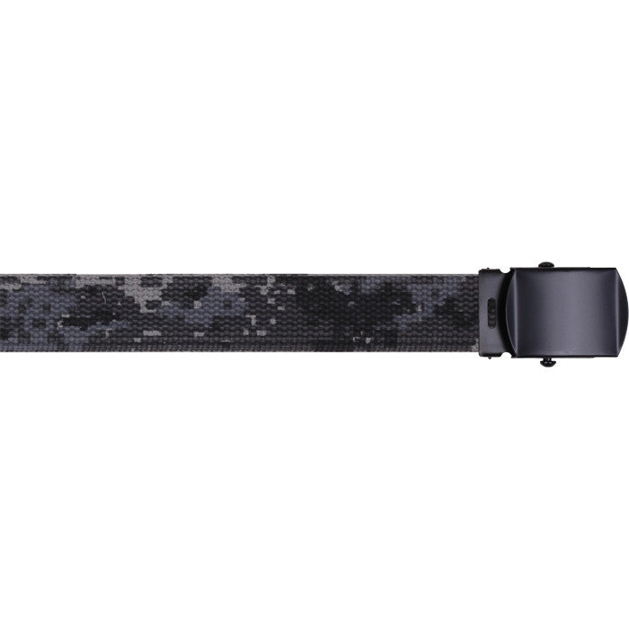 Subdued Urban Digital Camouflage - Military Web Belt with Black Buckle 54 in.