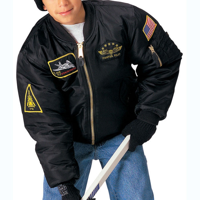 Black - Kids Military Top Gun Air Force MA-1 Bomber Flight Jacket with Patches