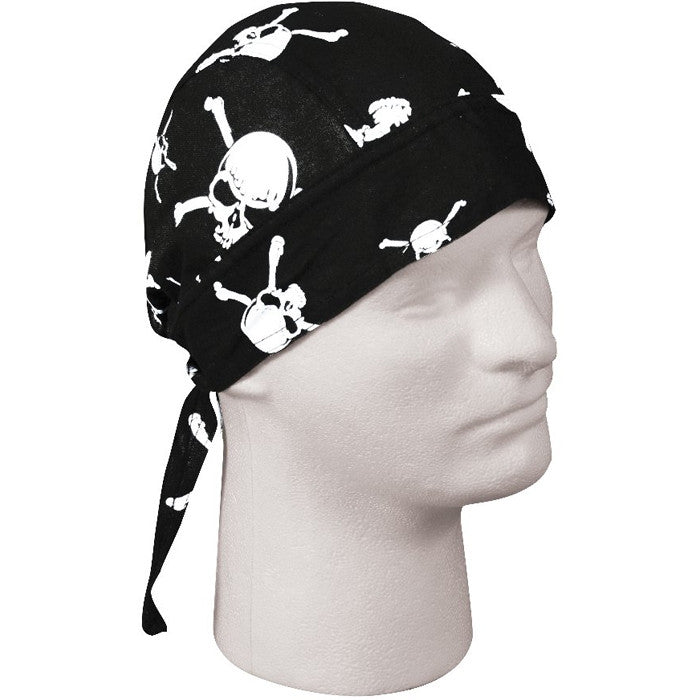 Black - Military Style Headwrap with Skulls and Crossbones