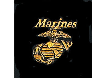 Black - MARINES Golf Shirt with Gold USMC Emblem