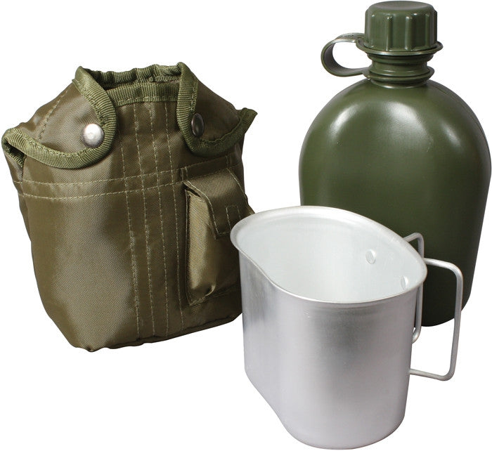 Olive Drab - 3 Piece Complete 1 Quart Canteen kit with Aluminum Cup