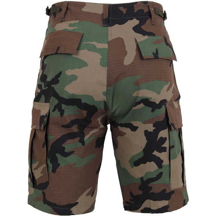 Woodland Camouflage - Military Cargo BDU Shorts - Cotton Ripstop